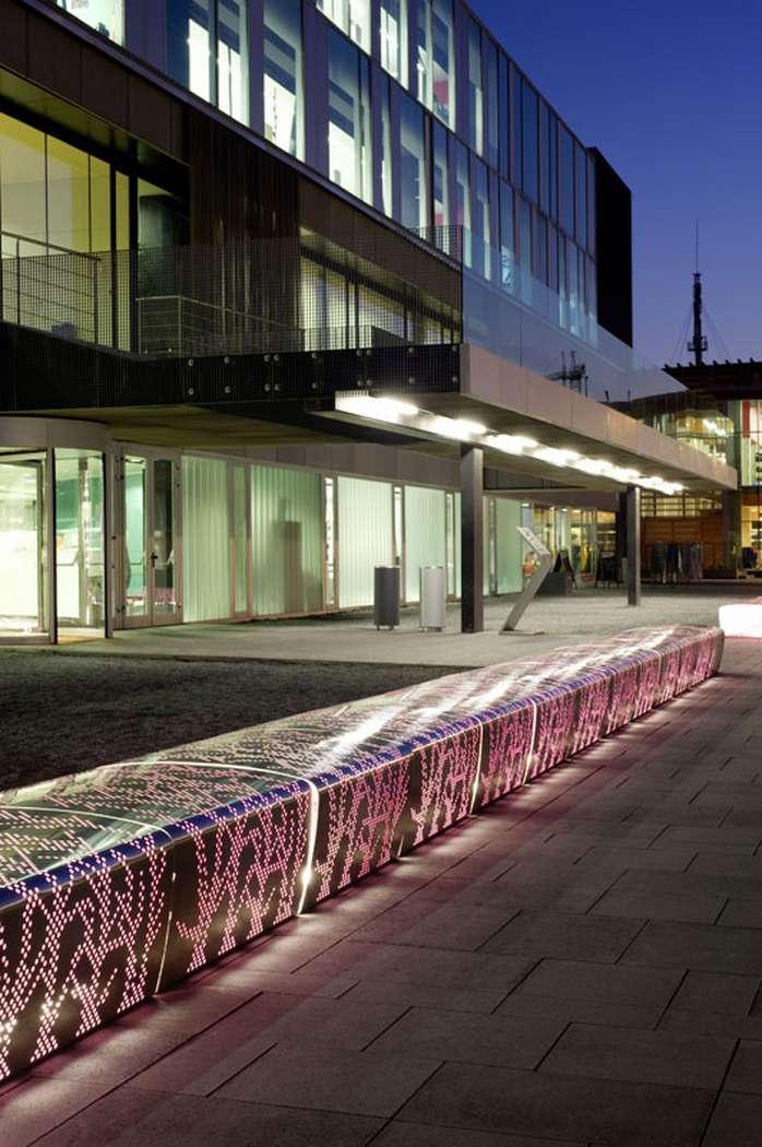 Лавочка скамейка из алюминия с  LED подсветкой