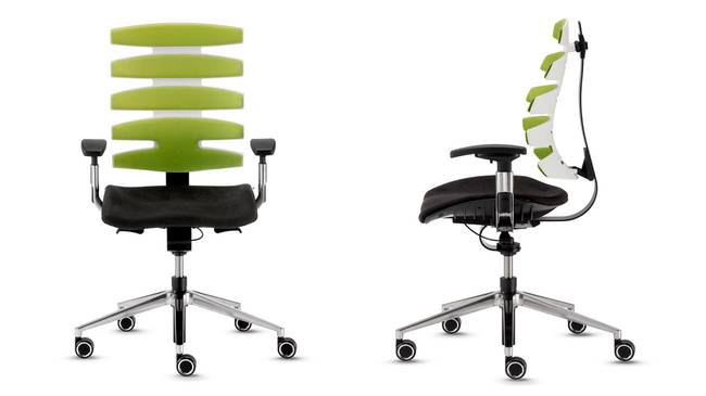 вы сидите на Sitagwave, обе спинки и сиденья приспосабливаются к вашему телу в любом направлении